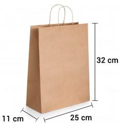 Bolsa de papel kraft marrón con asa rizada de 25x11x32 cm