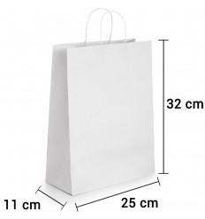 Bolsa de papel blanca con asa rizada de 25x11x32 cm personalizada