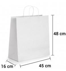 Bolsa de papel blanco con asa rizada de 45x16x48 cm