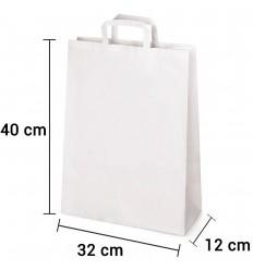 Bolsa de papel blanca con asa plana de 32x12x40 cm personalizada