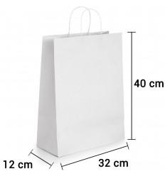 Bolsa de Papel Blanca con asa rizada de 32x12x40 cm personalizada