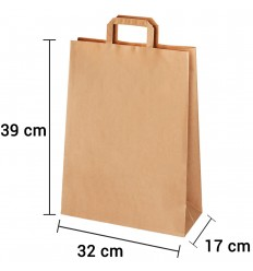 Bolsa de papel kraft marrón con asa plana de 32x17x39 cm personalizada