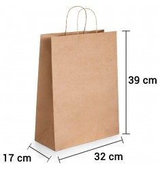 Bolsa de papel kraft marrón con asa rizada de 32x17x39 cm personalizada