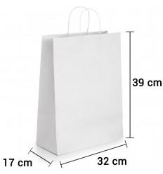 Bolsa de Papel Blanca con asa rizada de 32x17x39 cm personalizada