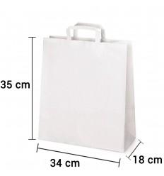 Bolsa de papel blanca con asa plana de 34x18x35 cm personalizada