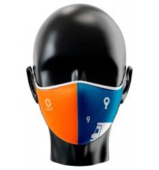 Mascarilla personalizada para transportistas publicitaria Vista de frente