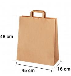 Bolsa de papel kraft marrón con asa plana de 45x16x48 cm personalizada