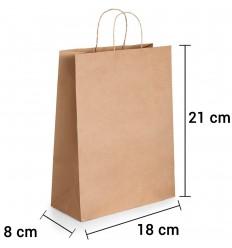 Bolsa de papel kraft marrón con asa rizada de 18x8x21 cm