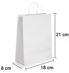 Bolsa de papel blanco con asa rizada de 18x8x21 cm personalizada