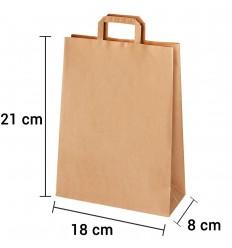 Bolsa de papel kraft marrón con asa plana de 18x8x21 cm personalizada