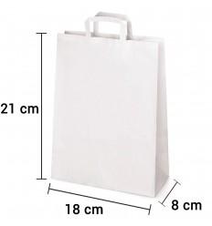 Bolsa de papel blanco con asa plana de 18x8x21 cm