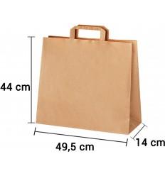Bolsa de papel kraft marrón con asa plana de 49,5x14x44 cm
