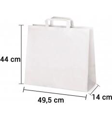 Bolsa de papel blanco con asa plana de 49,5x14x44 cm personalizada