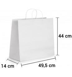Bolsa de papel blanco con asa rizada de 49,5x14x44 cm personalizada