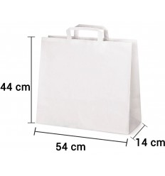 Bolsa de papel blanco con asa plana de 54x14x44 cm personalizada
