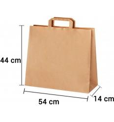 Bolsa de papel kraft marrón con asa plana de 54x14x44 cm