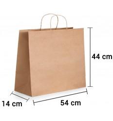Bolsa de papel kraft marrón con asa rizada de 54x14x44 cm personalizada