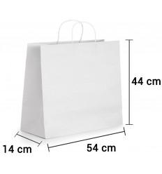 Bolsa de papel blanco con asa rizada de 54x14x44 cm personalizada
