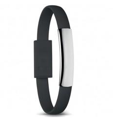 Pulsera Promocional con Cable Micro USB personalizado Color Negro