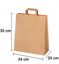 Bolsa de papel kraft marrón con asa plana de 34x20x35 cm