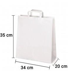 Bolsa de papel blanco con asa plana de 34x20x35 cm