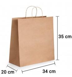 Bolsa de papel kraft marrón con asa rizada de 34x20x35 cm