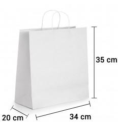 Bolsa de papel blanco con asa rizada de 34x20x35 cm