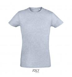 Camiseta ajustada de algodón Sol's Regent Fit 150 con logo Color Azul Cielo Jaspeado Vista Frontal
