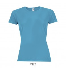 Camiseta mujer transpirable para deporte Sol's Sporty 140 personalizada Color Agua Vista Frontal