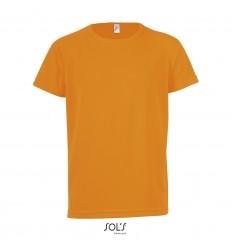 Camiseta niño transpirable para deporte Sol's Sporty 140 publicitaria Color Naranja Neón Vista Frontal