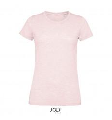 Camiseta de mujer 100% algodón Sol's Regent Fit 150 merchandising Color Rosa Jaspeado Vista Frontal