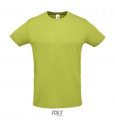 Camiseta unisex con cuello redondo Sol's Sprint 130 publicitaria Color Verde Manzana Vista Frontal