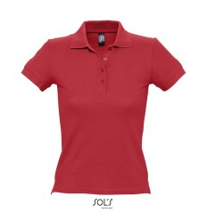 Polo 100 % algodón ringspun para mujer Sol's People 210 merchandising Color Rojo Vista Frontal