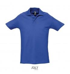 Polo de algodón manga corta Sol's Spring II 210 para publicidad Color Azul Royal Vista Frontal