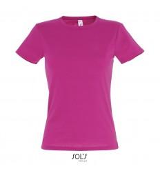 Camiseta de mujer mejor calidad-precio algodón Sol's Miss 150 barata Color Fucsia Vista Frontal