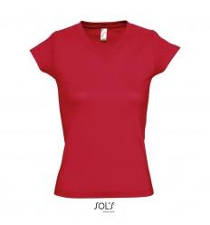 Camiseta de mujer con cuello de pico Sol's Moon 150 barata Color Rojo Vista Frontal
