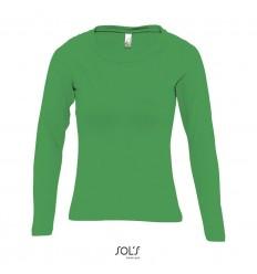 Camiseta de mujer con manga larga Sol's Majestic 150 personalizada Color Verde Vista Frontal