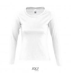Camiseta blanca de mujer con manga larga Sol's Majestic 150 barata Color Blanco Vista Frontal
