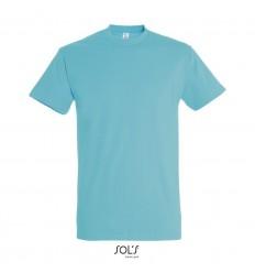 Camiseta algodón con cuello reforzado Sol's Imperial 190 personalizada Color Azul Atolón Vista Frontal