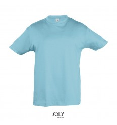 Camiseta niño mejor calidad-precio manga corta Sol's Regent 150 personalizada Color Azul Atolón Vista Frontal