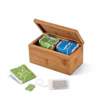 Caja de Infusiones de Bambú Mini con Logo Personalizado Promocional