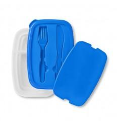Tupperware Picnic con Cubiertos Publicitario Color Azul