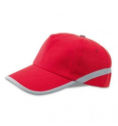 Gorra de Béisbol con Cinta Reflectante Promocional Color Rojo