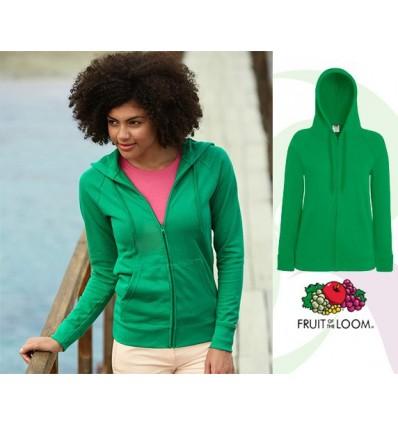 Sudadera Capucha y Cremallera Ligera de Mujer para Campañas Publicitarias Color Verde Kelly