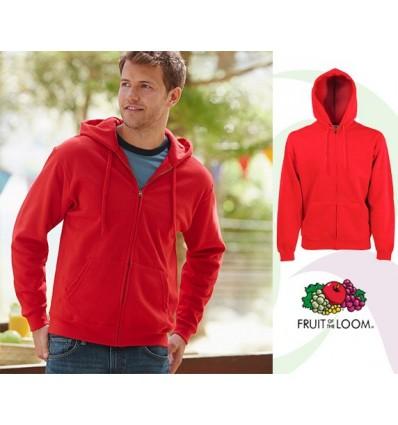 Sudadera Capucha y Cremallera Classic Empresa Color Rojo