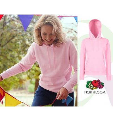 Sudadera Capucha Classic de Mujer de Color para Campañas Publicitarias Color Rosa