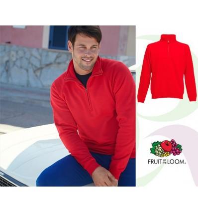 Sudadera 1/2 Cremallera Premium para Personalizar Color Rojo