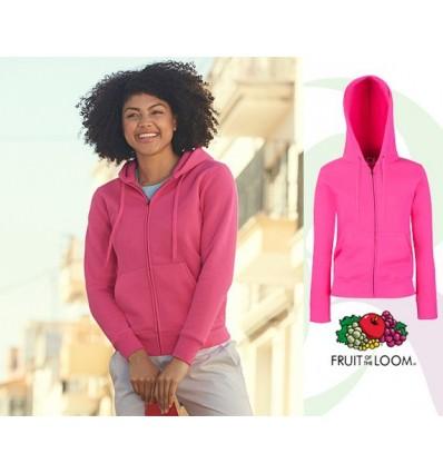 Sudadera Capucha y Cremallera Premium de Mujer Color para Campañas Publicitarias Color Fucsia