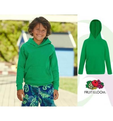 Sudadera Capucha Ligera de Niño/a Promocional Color Verde Kelly