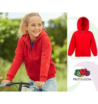 Sudadera Capucha y Cremallera Premium Niño/a para Campañas Publicitarias Color Rojo